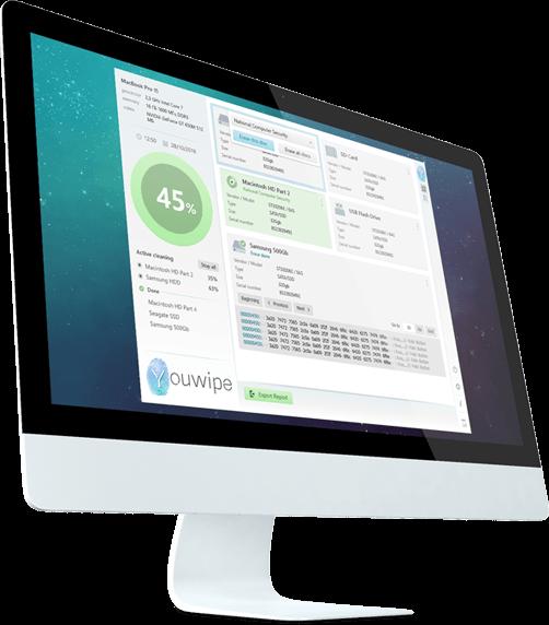 Abbildung eines Monitors mit der Benutzeroberfläsche der Daten-Löschsoftware Youwipe. Eine Software zur sicheren Datenlöschung von Festplatten.