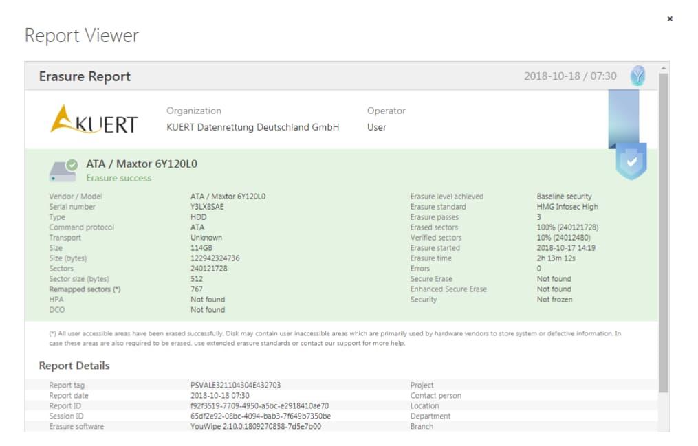 Festplatte löschen - Darstellung eines Zertifikats
